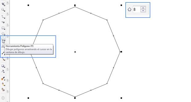 Dibujando un polígono de 8 lados en CorelDRAW