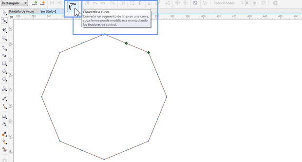 Convertir nodos del polígono a curvas