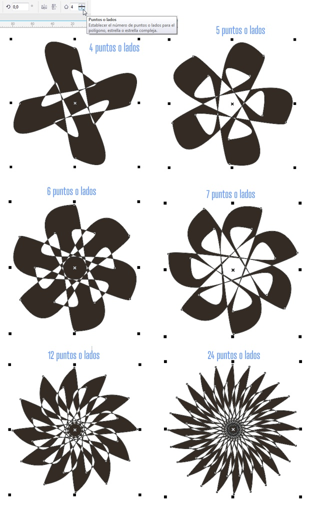 Cambiando el numero de lados del polígono