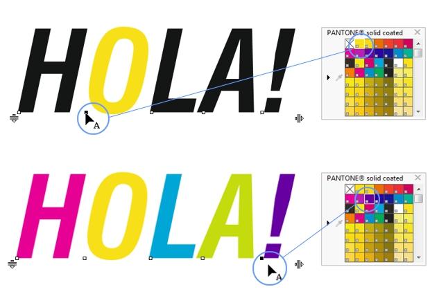 Cambiando de color cada caracter del texto