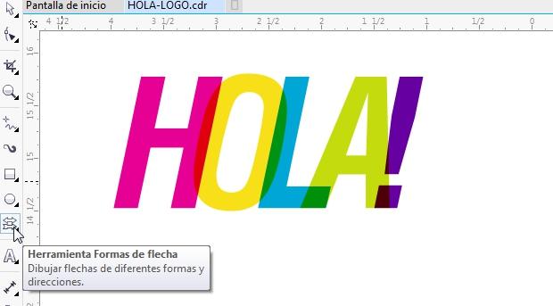 El texto multicolor transparente