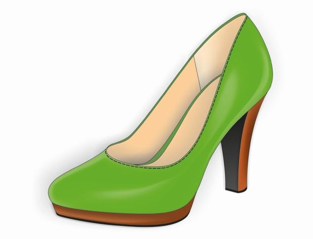 El zapato con el relleno de malla y la sombra aplicada