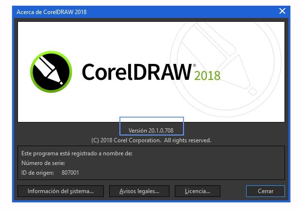 El número de la versión de CorelDRAW instalada