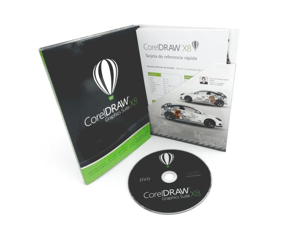 Versión en caja / dvd de CorelDRAW X8 con la tabla de referencia rápida