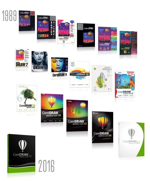 Las cajas de todas las versiones de CorelDRAW hasta la fecha